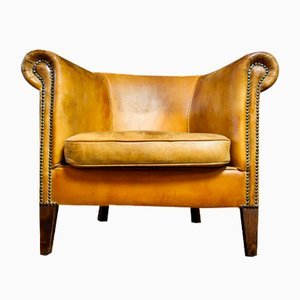 Vintage Sheep Leather Armchair in Light Brown