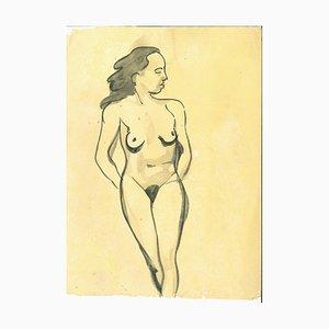 André Meaux Saint-Marc, Nude Woman, Original Pen and Watercolor, 1900