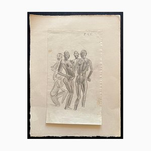 Emmanuel Gondouin, Figures, Original Drawing in Pencil on Paper, 1930s