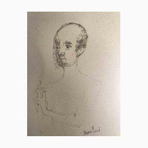 François Heaulmé, Portrait, Original Pen Drawing, Late 20th-Century