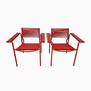 Red Spaghetti 109 Armchairs by Giandomenico Belotti for Alias, 1980s, Set of 2