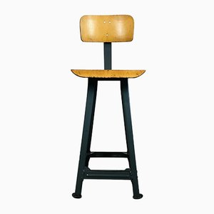 Industrial Metal Stool with Backrest