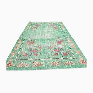 Vintage Turkish Oriental Handmade Green Oushak Wool Hallway Rug with Farmhouse Decor