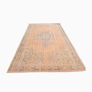 Vintage Turkish Oriental Handmade Orange Oushak Wool Hallway Rug with Farmhouse Decor