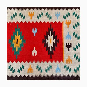 Mid-Century Woven Wool Rugs and Runner, Set of 3