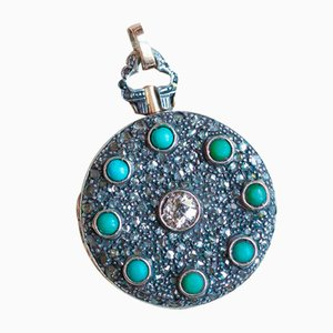 Antique Photo Pendant in 18k Gold and Silverith with Turquoise and Diamonds, 1940s