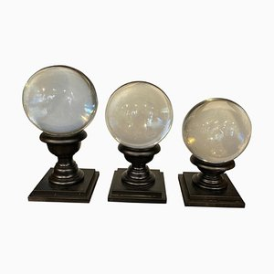 Art Deco Transparent Murano Glass Spheres on Stand, 1930s, Set of 3