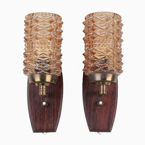 Danish Teak and Colored Glass Wall Lamps, Set of 2
