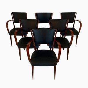 Vintage Italian Walnut Armchairs, Set of 6