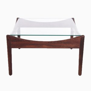 Palisander Coffee Table with Glass Top by Kristian Vedel for Soren Willadsen, 1960s