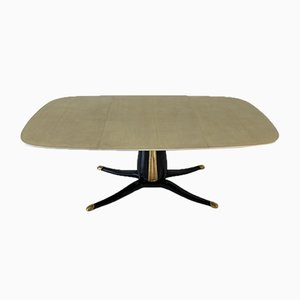 Italian Pedestal Dining Table in Parchment and Gold Leaf, 1950s
