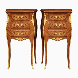French Inlaid Bedside Tables in Napoleon III Style, Set of 2