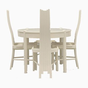 Sculptural Backed Chairs & Dining Table, 1980s, Set of 5