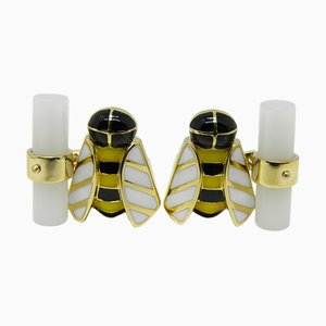 Berca Hand Enameled Bee Shaped White Agate Yellow Gold Cufflinks, Set of 2