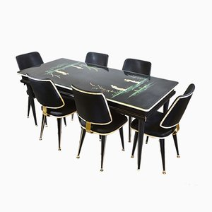 Mid-Century Chinoiserie Dining Table & Six Chairs by Umberto Mascagni, Set of 7