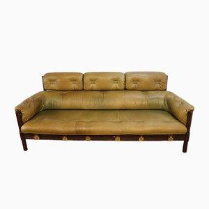 Vintage Leather and Teak Sofa,1960s