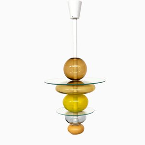 Murano Glass and Painted Metal Chandelier by Ettore Sottsass for Venini