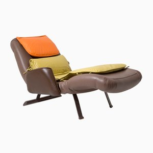 Painted Iron & Leather Chaise Lounge by Giovanni Offredi for Saporiti, 1970s