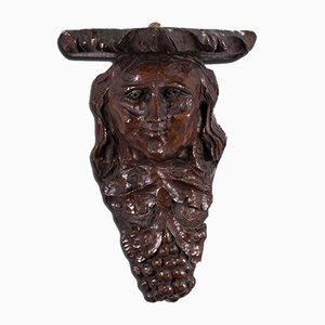 Antique American Carved Oak Figure Candle Bracket, 1800s