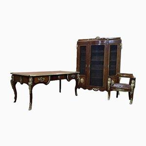 Regency Style Desk Set in Amaranth and Rio Rosewood Veneer