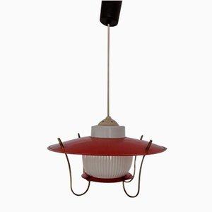 Vintage Ceiling Lamp with Orange Metal Mount, 1960s