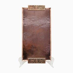 Handmade Mid-Century Embossed Copper Tray, 1970s