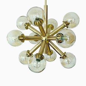 Spuntnik Pendant Light with Brass Glass Globes from Kalmar, 1960s