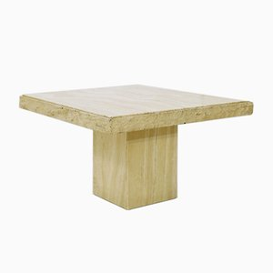 Brutalist Travertine Square Coffee Table, 1970s