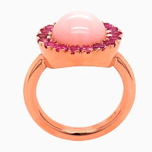 Berca Pink Sapphire Round Pale Rose Opal Cabochon Rose Gold Cocktail Ring