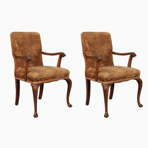 Queen Anne Style Walnut Armchairs, Set of 2