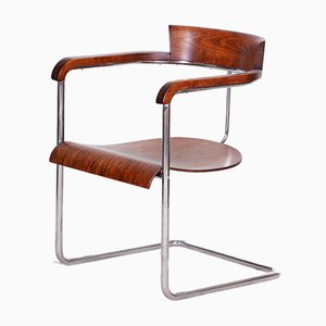 Czech Walnut Art Deco Chair by Jindrich Halabala for Up Závody, 1930s
