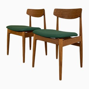 Teak Dining Chairs with Pine Green Upholstery from Casala, Germany, Set of 2