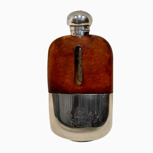 Silver & Leather Bound Hip Flask by Drew & Sons