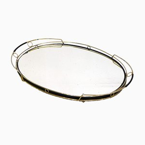 Large Oval Mirror Tray in Gilded Metal & Scoubidou from Plastofix, France