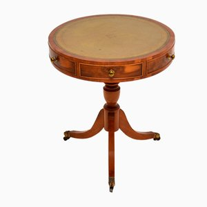 Antique Regency Style Yew Wood Drum Table