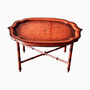 Regency Style Faux Bamboo & Leather Butlers Tray