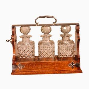 19th-Century Silver Metal & Oak Liquor Cellar & Bottles