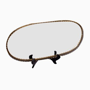 Swedish Mirror Glass and Brass Serving Tray, 1940s