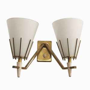 Italian Cone-Shaped Brass and Opal Glass Lamps, 1960s, Set of 2