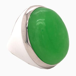 Green Jade & Sterling Silver Ring from Berca