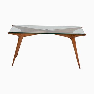 Mid-Century Glass and Wood Coffee Table by Carlo De Carli