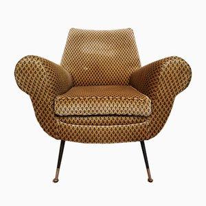 Mid-Century Armchair in Velvet and Brass by Gigi Radice for Minotti, Italy, 1950s