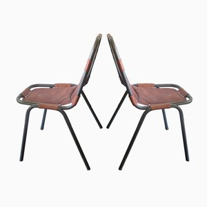 Leather and Metal Chairs, 1960, Set of 2