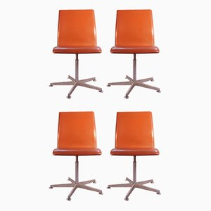 """Danish Red Leather """"Oxford"""" Swivel Chairs by Arne Jacobsen for Fritz Hansen, Set of 4"""