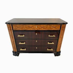 Italian Art Deco Maple and Brass Chest of Drawers, 1930s
