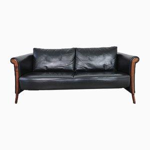Black Leather Esprit Sofa, France, 1980s