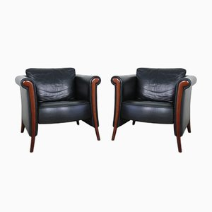 Black Leather Esprit Armchairs, France, 1980s, Set of 2