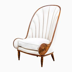 Nautilus Armchair with Carved Wooden Frame and Fabric by Paul Iribe for Annibale Colombo, 1970s