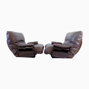 Brown Leather Marsala Chairs by Michel Ducaroy for Ligne Roset, Set of 2