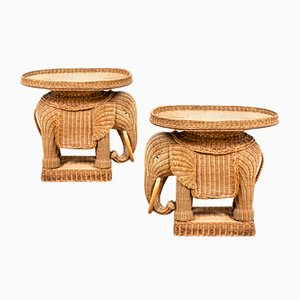 Elephant Tables with Removable Trays in Rattan Attributed to Vivai del Sud, 1970s, Set of 2